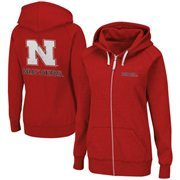 Nebraska Cornhuskers Ladies Throwback Full Zip Hoodie - Scarlet