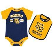 Infant Marquette Golden Eagles Navy Blue Dribble Creeper and Bib Set