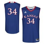 Men's adidas Royal Blue Kansas Jayhawks March Madness #34 Replica Basketball Jersey