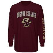 Mens Boston College Eagles Maroon Arch & Logo Long Sleeve T-Shirt
