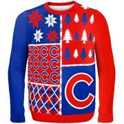 Chicago Cubs Red Busy Block Ugly Sweater