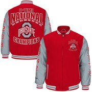 Mens Ohio State Buckeyes Scarlet 2014 College Football Playoff National Champions Commemorative 8-Time Champs Canvas Full Zip Ja