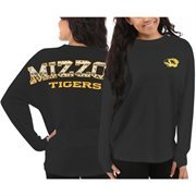 Women's Missouri Tigers Black Aztec Sweeper Long Sleeve Top