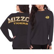 Women's Missouri Tigers Black Aztec Sweeper Long Sleeve Oversized Top