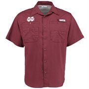 Men's Columbia Maroon Mississippi State Bulldogs Tamiami PFG Button-Down Shirt