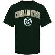 Mens Green Colorado State Rams Arch Over Logo T-Shirt