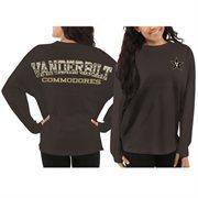 Women's Vanderbilt Commodores Black Aztec Sweeper Long Sleeve Oversized Top