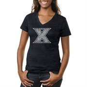 Xavier Musketeers Ladies Distressed Primary Tri-Blend V-Neck T-Shirt - Navy Blue