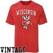 Wisconsin Badgers Big Arch N' Logo Ring Spun T-Shirt - Heathered Red