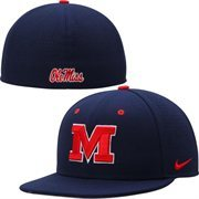 Ole Miss Rebels Nike Dri-FIT Vapor True College Authentic Baseball Fitted Hat - Navy Blue