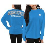 Women's Boise State Broncos Blue Aztec Sweeper Long Sleeve Oversized Top