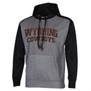 Mens Wyoming Cowboys Gray/Black Fast Slant Raglan Performance Hoodie