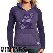 Original Retro Brand Northwestern Wildcats Women's Two-Toned V-Neck Hooded Sweatshirt - Purple