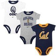 Cal Bears Infant 3-Pack Creeper Set - White/Ash/Navy Blue