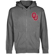 Mens Oklahoma Sooners Dark Gray Logo Lefty Full Zip Hoodie