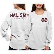 Women's Mississippi State Bulldogs White Pom Pom Jersey Oversized Long Sleeve T-Shirt