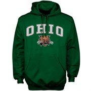 Mens Forest Green Ohio Bobcats Arch Over Logo Hoodie