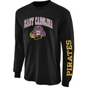 Mens East Carolina Pirates Black Arch & Logo Long Sleeve T-Shirt