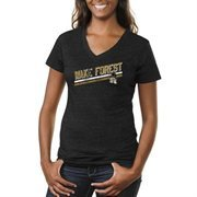 Wake Forest Demon Deacons Women's Rising Bar Primary Tri-Blend V-Neck T-Shirt - Black