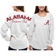 Women's Alabama Crimson Tide White Pom Pom Jersey Oversized Long Sleeve T-Shirt