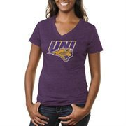 Northern Iowa Panthers Ladies Distressed Primary Tri-Blend V-Neck T-Shirt - Purple
