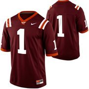 Nike Virginia Tech Hokies #1 Game Football Jersey - Maroon