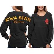 Women's Iowa State Cyclones Gray Pom Pom Jersey Oversized Long Sleeve T-Shirt