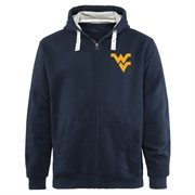 Mens West Virginia Mountaineers Navy Blue Gridiron Logo Lefty Full Zip Hoodie