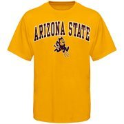 Mens Gold Arizona State Sun Devils Arch Over Logo T-Shirt