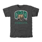 Ohio Bobcats Distressed Primary Tri-Blend T-Shirt - Charcoal
