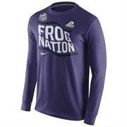 Mens TCU Horned Frogs Nike Purple 2014 Peach Bowl Bound Flag Nation Long Sleeve T-Shirt