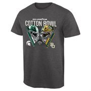 Mens Michigan State Spartans vs. Baylor Bears Charcoal 2015 Cotton Bowl Dueling Criss Cross T-Shirt