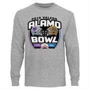 Men's Kansas State Wildcats vs. UCLA Bruins Ash 2015 Valero Alamo Bowl Dueling Long Sleeve T-Shirt
