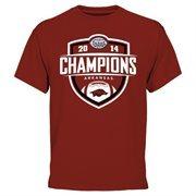 Men's Cardinal Arkansas Razorbacks 2014 AdvoCare V100 Texas Bowl Champions T-Shirt