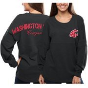 Women's Washington State Cougars Gray Pom Pom Jersey Oversized Long Sleeve T-Shirt