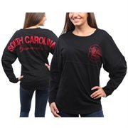 Women's South Carolina Gamecocks Black Pom Pom Jersey Oversized Long Sleeve T-Shirt