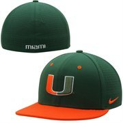 Men's Miami Nike Green Hurricanes Dri-FIT Vapor True College Authentic Baseball Fitted Hat