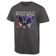 Mens Ole Miss Rebels vs. TCU Horned Frogs Charcoal 2014 Peach Bowl Dueling Stadium Criss Cross T-Shirt