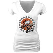 Women's White 2015 NCAA Men's Basketball Tournament Sweet 16 V-Neck T-Shirt