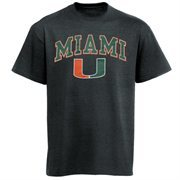 Mens Charcoal Miami Hurricanes Arch Over Logo T-Shirt