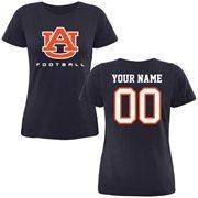 Auburn Tigers Ladies Personalized Football Classic Fit T-Shirt - Navy Blue