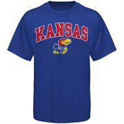 Mens Royal Blue Kansas Jayhawks Arch Over Logo T-Shirt