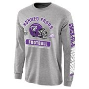 Men's TCU Horned Frogs Gray 2014 Peach Bowl Bound Facemask Long Sleeve T-Shirt