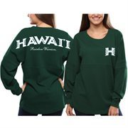 Hawaii Warriors Women's Pom Pom Jersey Long Sleeve Top - Green