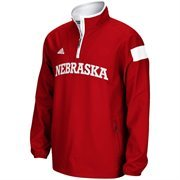 Mens Nebraska Cornhuskers adidas Scarlet 2014 Football Sideline Coaches Quarter-Zip Long Sleeve Woven Jacket
