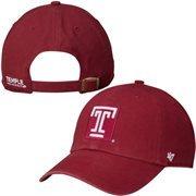 Mens Temple Owls '47 Brand Cardinal Clean-Up Logo Adjustable Hat