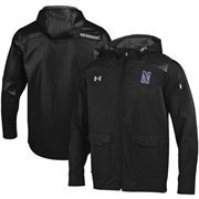 Mens Northwestern Wildcats Under Armour Black Ultimate Sideline Full Zip Performance Jacket
