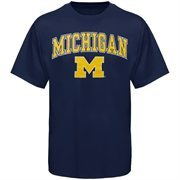 Mens Navy Blue Michigan Wolverines Arch Over Logo T-Shirt