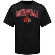 Mens Black Louisville Cardinals Arch Over Logo T-Shirt