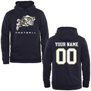 Navy Midshipmen Personalized Football Pullover Hoodie - Navy Blue